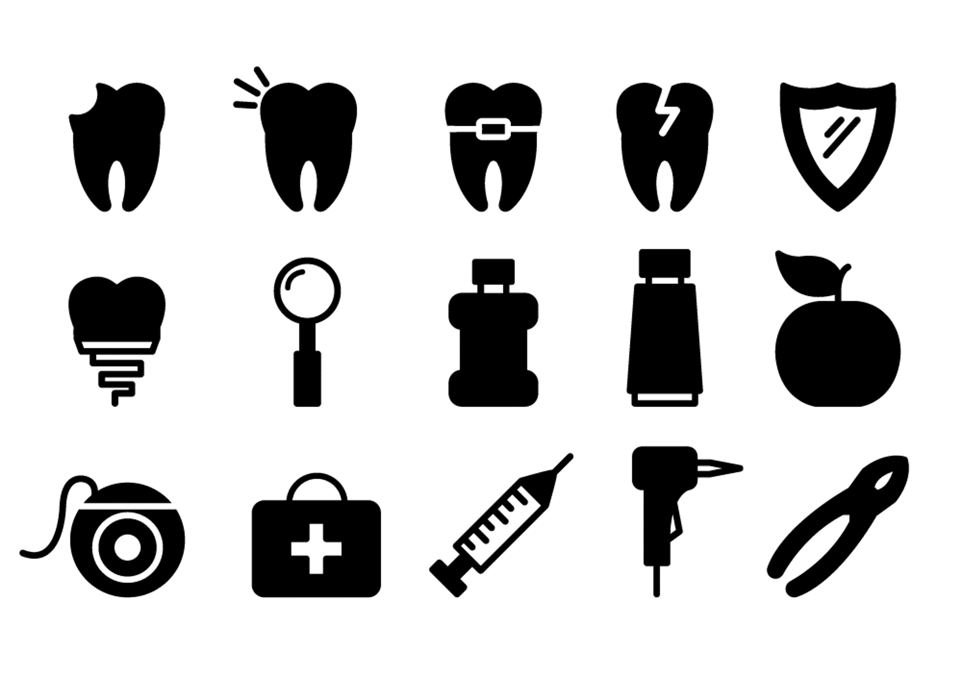 dental icons, dentist, tooth